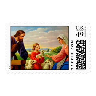 John, Mary, & Jesus settled in Nazareth Postage