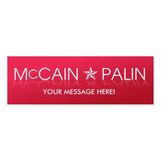 John McCain Sarah Palin Tarjeta De Visita