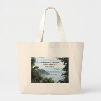 """John Muir: """"Between every two pines is a doorway"""" Large Tote Bag"""