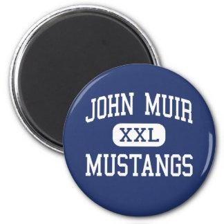 John Muir - mustangos - alto - Pasadena California Imán Redondo 5 Cm