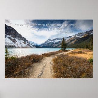 John Muir Quote - Bow Lake Canadian Rockies Poster