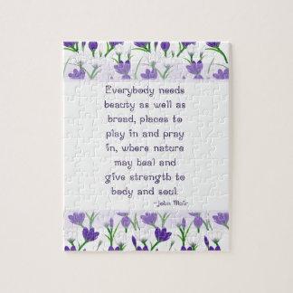 John Muir Quote- Spring Crocus Flowers Puzzles
