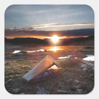 John Muir Trail Camp Sunrise - Sierra Nevada Mount Square Sticker