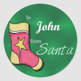 John Personalized Christmas Label72 Classic Round Sticker