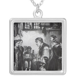 John Pounds teaching children in his home Silver Plated Necklace