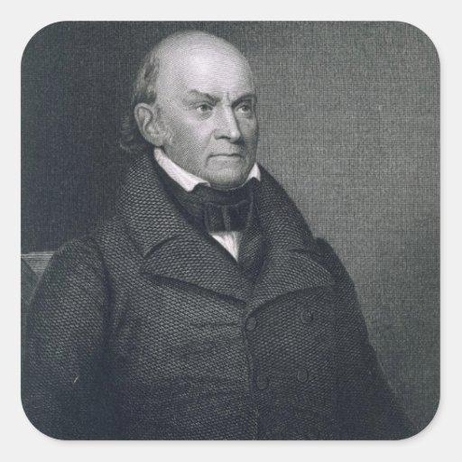 John Quincy Adams, grabado por John Wesley Paradis Pegatina Cuadrada