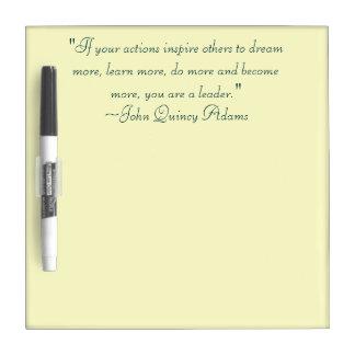 John Quincy Adams Leadership Quote Dry Erase Board