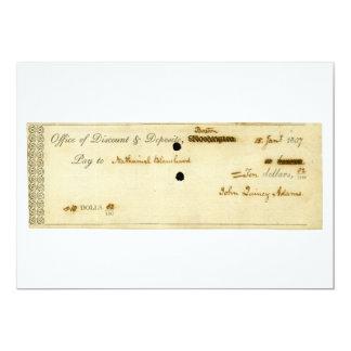 John Quincy Adams ORIGINAL Signed Check Personalized Invitation