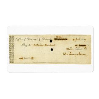 John Quincy Adams ORIGINAL Signed Check Shipping Labels