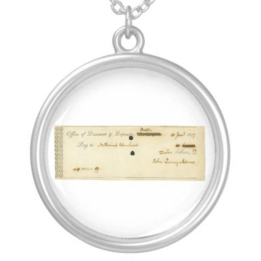 John Quincy Adams ORIGINAL Signed Check Personalized Necklace