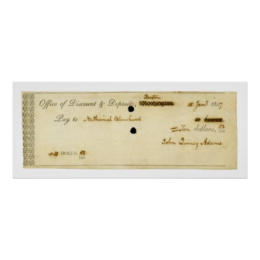 John Quincy Adams ORIGINAL Signed Check Print