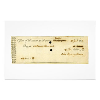 John Quincy Adams ORIGINAL Signed Check Customized Stationery