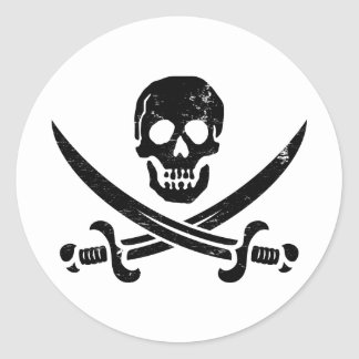 John Rackham (Calico Jack) Pirate Flag Jolly Roger Classic Round Sticker