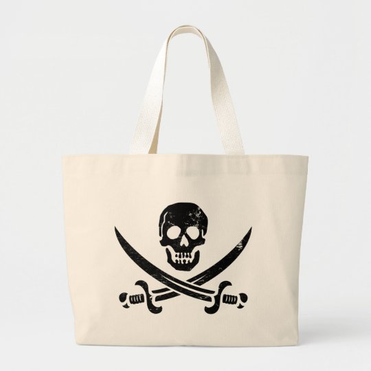 John Rackham (Calico Jack) Pirate Flag Jolly Roger Large Tote Bag