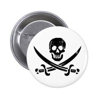 John Rackham (Calico Jack) Pirate Flag Jolly Roger Pinback Button