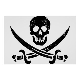 John Rackham (Calico Jack) Pirate Flag Jolly Roger Poster