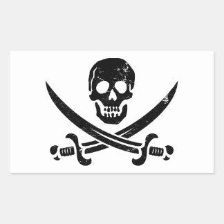 John Rackham (Calico Jack) Pirate Flag Jolly Roger Rectangular Sticker