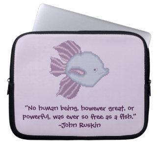 John Ruskin Fish Freedom Quote Laptop Case Laptop Sleeve