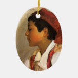John Sargent- Head of a Neapolitan Boy in Profile Christmas Ornament