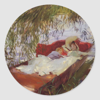 John Sargent- Two Women Asleep in a Punt Classic Round Sticker