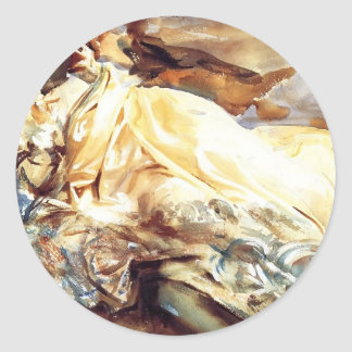 John Sargent: Woman Reading in a Cashmere Shawl Round Sticker