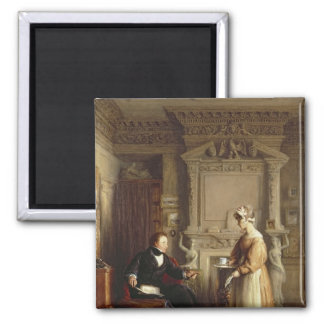 John Sheepshanks and his maid 2 Inch Square Magnet