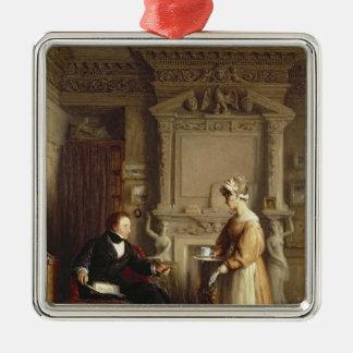 John Sheepshanks and his maid Square Metal Christmas Ornament