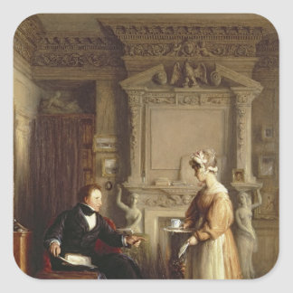 John Sheepshanks and his maid Square Sticker