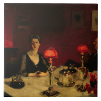 John Singer Sargent - A Dinner Table at Night Ceramic Tile