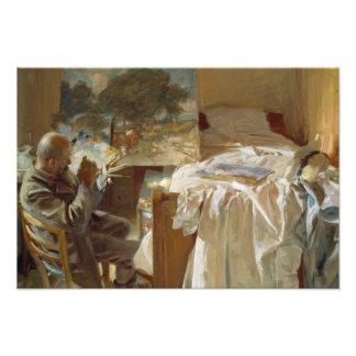 John Singer Sargent - artista en su estudio Cojinete