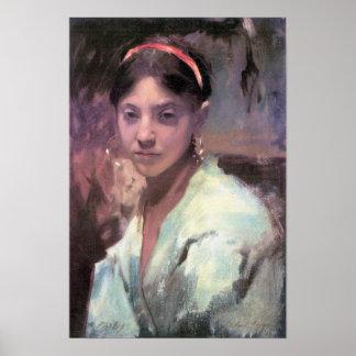 John Singer Sargent - cabeza de un chica de Capri Posters