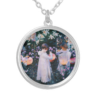 John Singer Sargent Carnation Lily Lily Rose Silver Plated Necklace