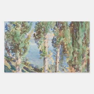 John Singer Sargent - Corfu - Cypresses Rectangular Sticker