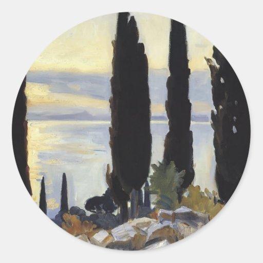 John Singer Sargent- Cypress Trees at San Vigilio Round Stickers