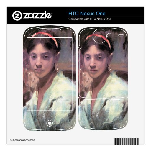 John Singer Sargent - Head of a Capri Girl Decals For HTC Nexus One
