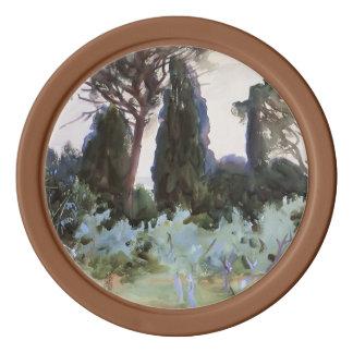 John Singer Sargent- Landscape near Florence Set Of Poker Chips