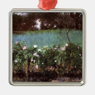 John Singer Sargent- Landscape with Rose Trellis Metal Ornament