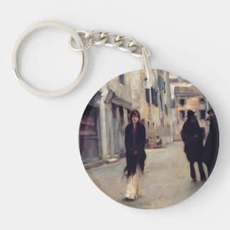 John Singer Sargent- Street in Venice Single-Sided Round Acrylic Keychain