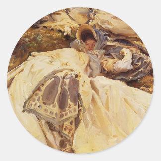 John Singer Sargent- Two White Dresses Classic Round Sticker