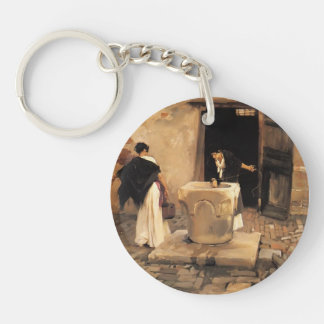 John Singer Sargent- Venetian Water Carriers Single-Sided Round Acrylic Keychain