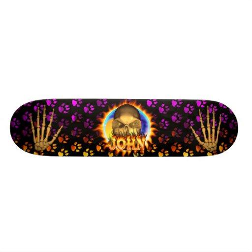 John skull real fire and flames skateboard design