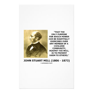 John Stuart Mill Prevent Harm To Others Quote Stationery Design