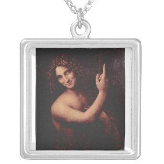 John the Baptist by Leonardo Da Vinci c. 1513-1516 Square Pendant Necklace