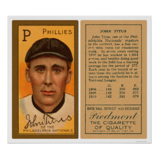 John Titus Phillies Baseball 1911 Poster
