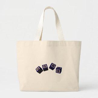 John toy blocks in blue jumbo tote bag
