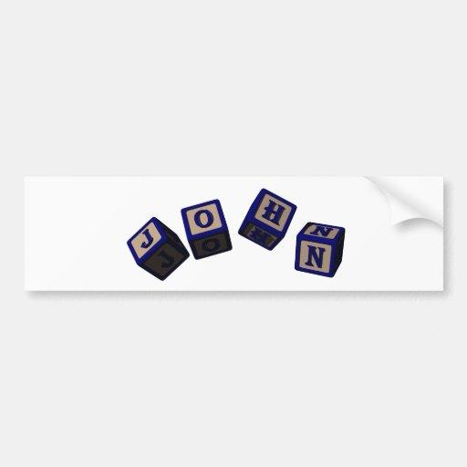 John toy blocks in blue bumper stickers