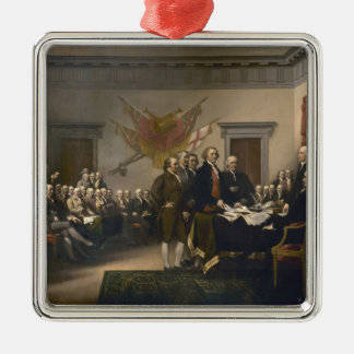 John Trumbull: Declaration of Independence Square Metal Christmas Ornament