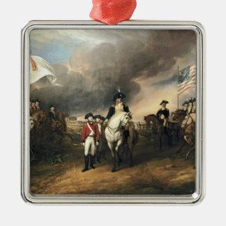 John Trumbull: The Surrender of Lord Cornwallis Square Metal Christmas Ornament