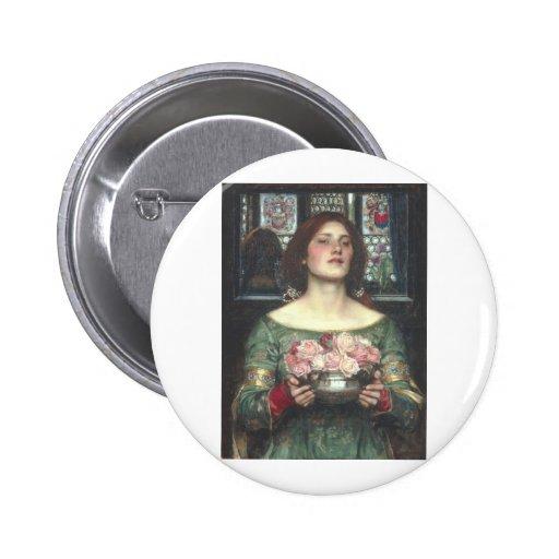 John W Waterhouse - Gather Ye Rosebuds (1908) Button