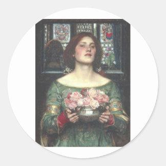 John W Waterhouse - Gather Ye Rosebuds (1908) Round Sticker